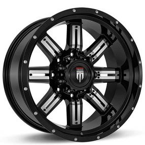 """18"""" American Truxx Wheels AT-153 Steel Black with Chrome Inserts Off-Road Rims"""