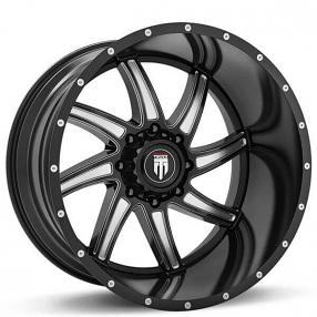 "24"" American Truxx Wheels AT-162 Vortex Black Milled Off-Road Rims"