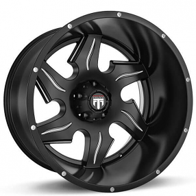 "22"" American Truxx Wheels AT-163 Ninja Black Milled Off-Road Rims"