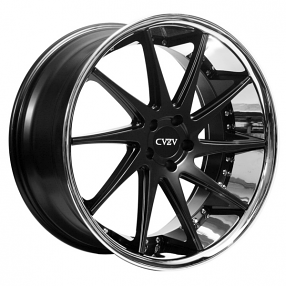 "20"" Staggered Azad Wheels AZ23 Semi Matte Black with Chrome Lip Rims"