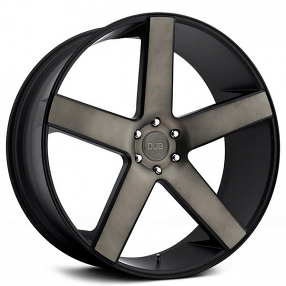 "24"" Dub Wheels Baller S116 Black with Machined Face and Dark Tint Rims"