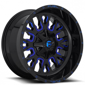 "20"" Fuel Wheels D645 Stroke Gloss Black with Candy Blue Off-Road Rims"