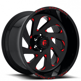 "22"" Fuel Wheels D638 Vortex Gloss Black with Candy Red Off-Road Rims"