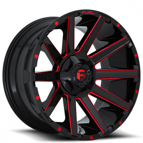 "20"" Fuel Wheels D643 Contra Gloss Black with Red Milled Off-Road Rims"