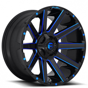 "20"" Fuel Wheels D644 Contra Gloss Black with Blue Milled Off-Road Rims"