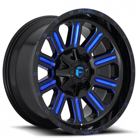 "20"" Fuel Wheels D646 Hardline Gloss Black with Candy Blue Off-Road Rims"
