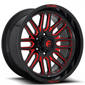 "20"" Fuel Wheels D663 Ignite Gloss Black with Candy Red Off-Road Rims"