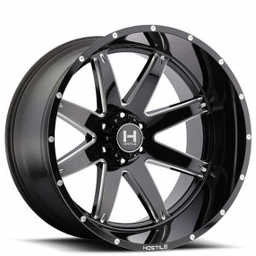 """24"""" Hostile Wheels H109 Alpha Gloss Black with Milled Accents Off-Road Rims"""