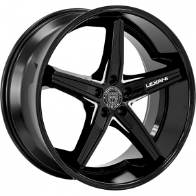 "20"" Staggered Lexani Wheels Fiorano Gloss Black Machined Accents Rims"