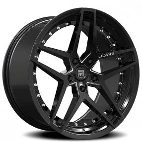 "20"" Staggered Lexani Wheels Spike Gloss Black Rims"
