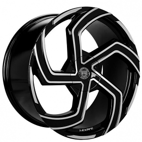 "22"" Staggered Lexani Wheels Swift Gloss Black Machined Rims"
