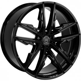 "22"" Staggered Lexani Wheels Venom Full Gloss Black Rims"