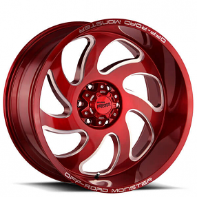 """22"""" Off Road Monster Wheels M07 Candy Apple Red Milled Rims"""