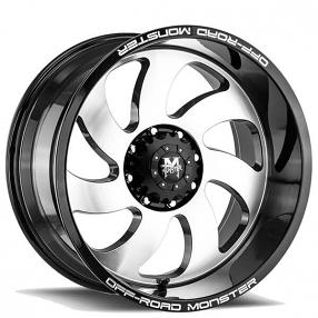 "22"" Off Road Monster Wheels M07 Gloss Black Machined Rims"