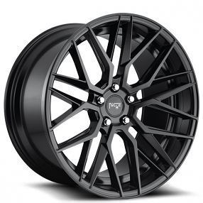 "20"" Staggered Niche Wheels M190 Gamma Matte Black Rims"