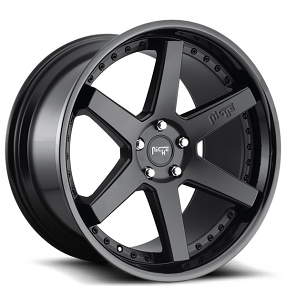 """19"""" Staggered Niche Wheels M192 Altair Matte Black Face with Gloss Black Lip Rims"""