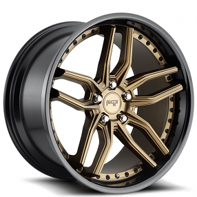 "20"" Staggered Niche Wheels M195 Methos Matte Bronze Face with Gloss Black Lip Rims"