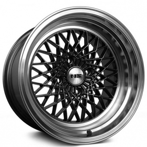 "15"" NS Wheels Drift MDV2 Gunmetal with Polished Lip Rims"