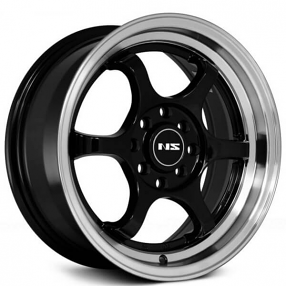 "15"" NS Wheels Tunner NS1202 Black with Machined Lip Rims"