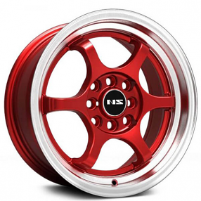"15"" NS Wheels Tunner NS1202 Red with Machined Lip Rims"