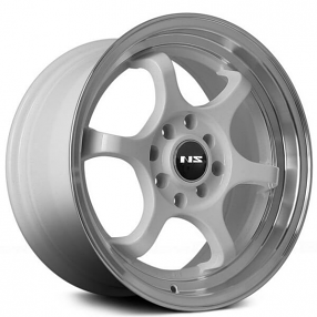 "15"" NS Wheels Tunner NS1202 White with Machined Lip Rims"