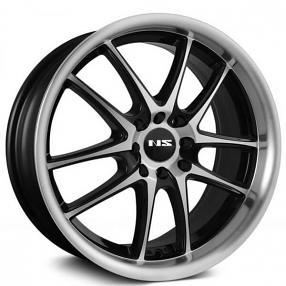 "17"" NS Wheels Tunner NS1404 Black Machined Face and Lip Rims"