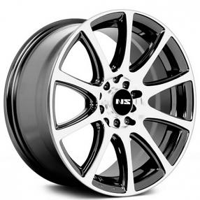 "15"" NS Wheels Tunner NS1405 Black Machined Rims"