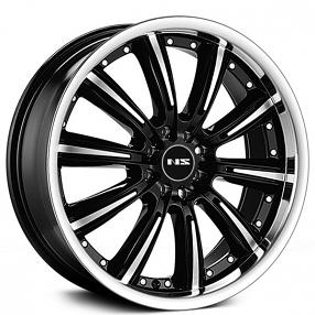 "17"" NS Wheels Tunner NS9017 Black Machined Face and Lip Rims"