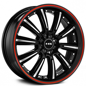 "17"" NS Wheels Tunner NS9017 Black Machined Face with Red Stripe Lip Rims"