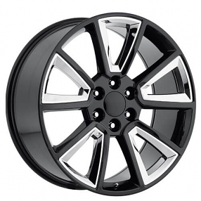 "22"" Tahoe Wheels Black with Chrome Inserts OEM Replica Rims"