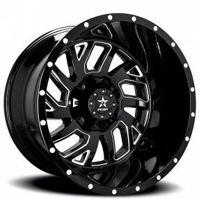 "22"" RBP Wheels 65R Glock Gloss Black Milled Off-Road Rims"