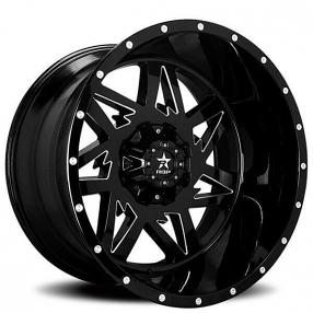 """24"""" RBP Wheels 71R Avenger Gloss Black Milled Off-Road Rims"""