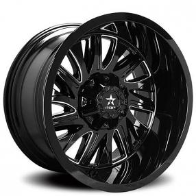 "20"" RBP Wheels 75R Batallion Gloss Black Milled Off-Road Rims"