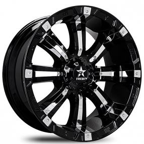 "22"" RBP Wheels 94R Black with Chrome Inserts Off-Road Rims"