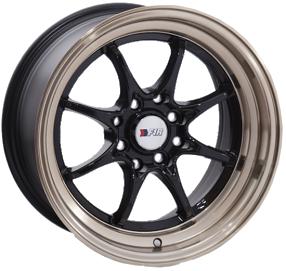 "15"" F1R Wheels F03 Black with Bronze Lip JDM Style Rims"