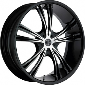 "20x8.5"" 2Crave Wheels No.2 Glossy Black Machined Face Black Lip Rims"
