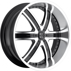 "20"" 2Crave Wheels No.4 Glossy Black Machined Face/CR Lip Rims"