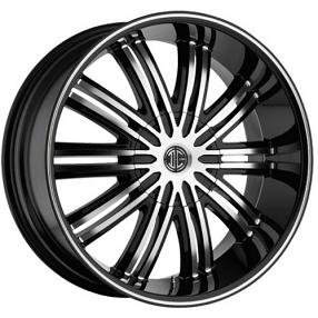 "20x8.5"" 2Crave Wheels No.7 Black Diamond Glossy Black Rims"