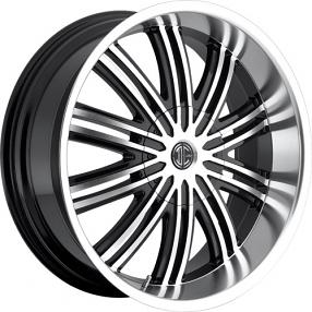 "20x8.5"" 2Crave Wheels No.7 Glossy Black W Machined Face/Polish Lip Rims"