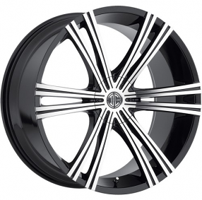 "20x8.5"" 2Crave Wheels No.28 Glossy Black Machined face Rims"