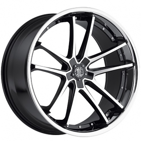 "20x8.5"" 2Crave Wheels No.34 Glossy Black Machined face W Chrome Lip Rims"