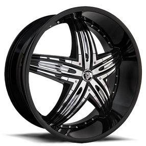 "24"" Diablo Wheels Rage Black with Chrome Insert Rims"