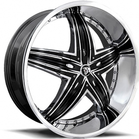 "24"" Diablo Wheels Rage Chrome with Black Insert Rims"