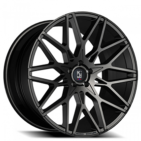 "20"" Staggered Giovanna-Koko kuture Wheels Funen Black Rims"