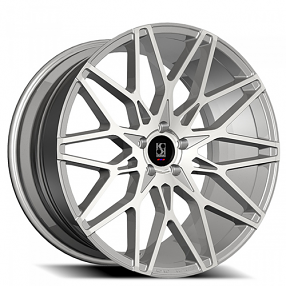 "20"" Staggered Giovanna-Koko kuture Wheels Funen Silver Machined Rims"
