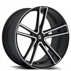 "20"" Staggered Giovanna-Koko kuture Wheels Massa-5 Black Machined Rims"