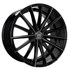 "20x8.5"" Lexani Wheels Pegasus Black W CNC Accents Rims"