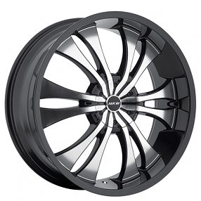 "22"" MKW Wheels M114 Black Machine Rims"