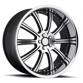 "20"" Staggered Concept One Wheels RS-10 Executive Black Machined Rims"