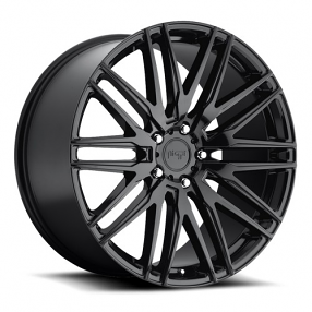 "22"" Staggered Niche Wheels M164 Anzio Gloss Black Rims"